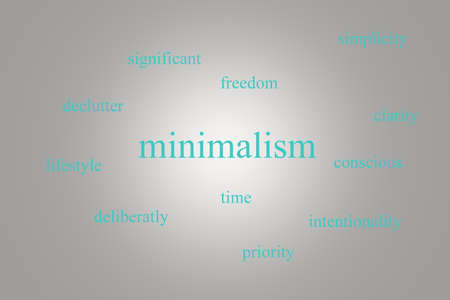 Illustration of an infographic about minimalism on a gray background with blue words