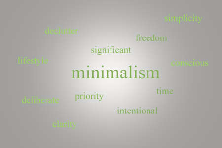 intentional: Illustration of an infographic about minimalism on a gray background with green words