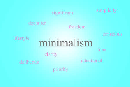 Illustration of an infographic about minimalism on a blue background with pink words