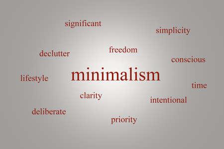빨간색 단어로 회색 배경에 infographic 약 minimalism의 그림