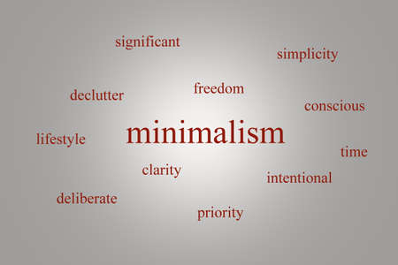 intentional: Illustration of an infographic about minimalism on a gray background with red words
