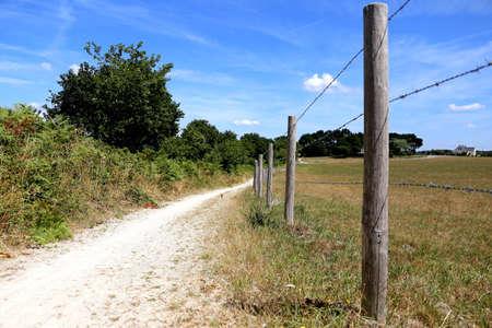 Walking along a field in rural brittany