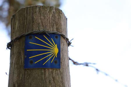 Signpost of the famous walking track santiago de compostela