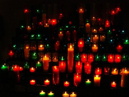 votive candle: Votive candle in a church in Barcelona             Stock Photo