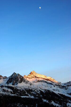 The sunset on the mountains near Champoluc Stock Photo - 933903