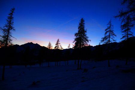 The sunset on the mountains near Champoluc photo