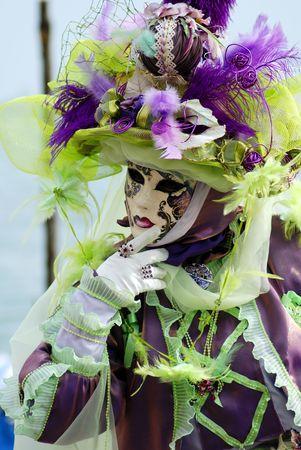 carnaval venise: Traditionnel Carnaval de Venise masque en place San Marco, Venise