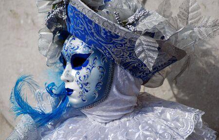 marco: Traditional Venice Carnival mask in San Marco square, Venice