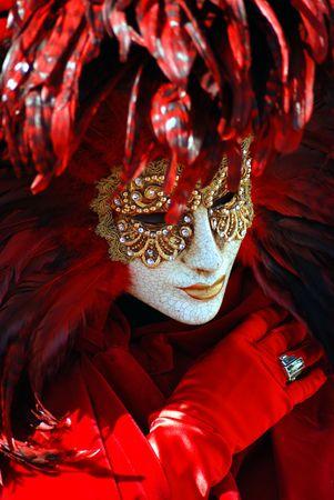 mistery: Traditional Venice Carnival mask in San Marco square, Venice