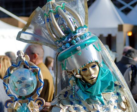 sceptre: Traditional Venice Carnival mask in San Marco square, Venice