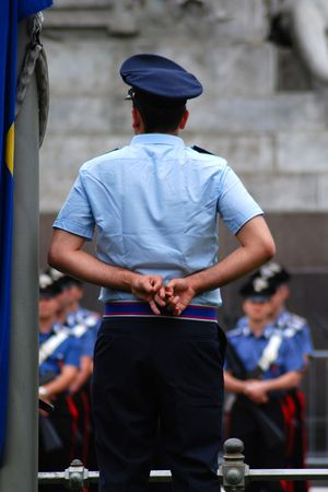 Police officers during a parade in Milan, Italy photo