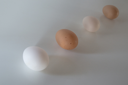 the sizes: eggs of different colors and sizes Stock Photo