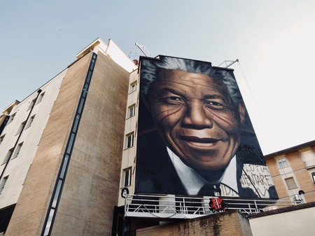 Murals dedicated to Nelson Mandela in Florence by Jorit
