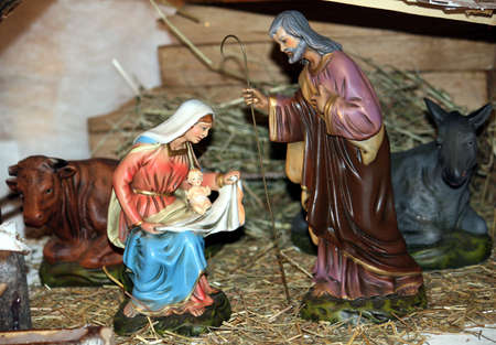 nativity with holy family  in a manger at christmas photo