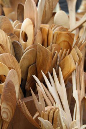 wooden spoons carved by a skilled craftsman on sale at the market  photo