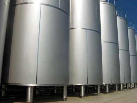 casks: huge silos containing liquid inside a factory