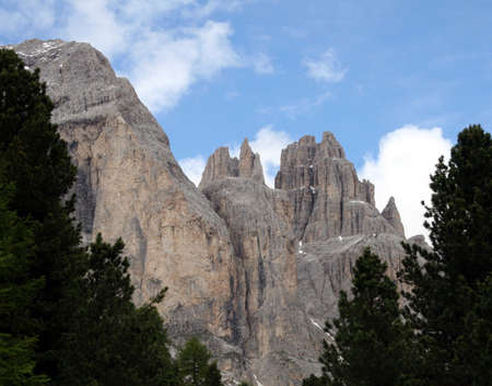 fassa: Peaks of the Dolomite mountains in the Alps in summer in Val di Fassa