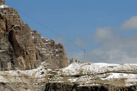 Cable car that climbs to the top of Sass Pordoio in Val di Fassa Italy Stock Photo - 9101303
