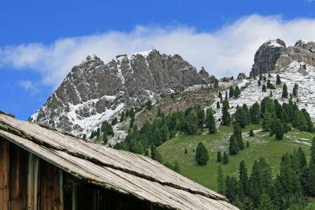 fassa: mountain landscape of the Dolomites of Val di Fassa Stock Photo