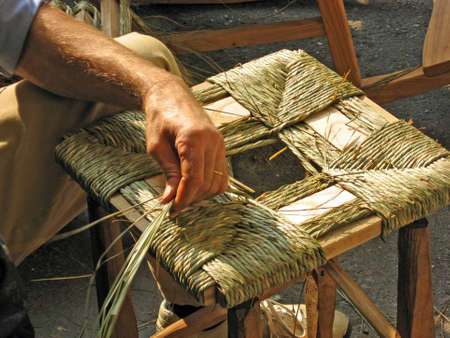 Italian artisan works stuffed the wooden chair  photo