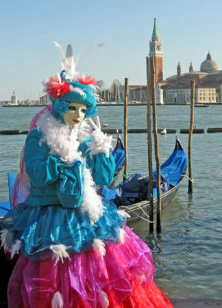 colorful carnival mask on display in Venice  photo