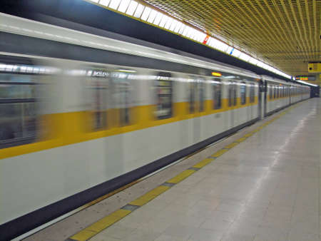 Metro travel very fast in Milan Stock Photo