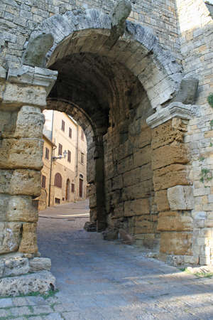 volterra: Etruscan gate at the entrance of the village of Volterra in Tuscany