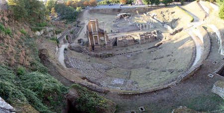 etruscan: ancient Roman Theatre in the Etruscan town of volterra in Tuscany