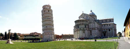 campo dei miracoli:  panoramic view of the campo santo of Pisa Tower