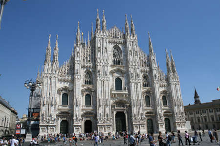 White Milan Cathedral in Gothic italian style  photo