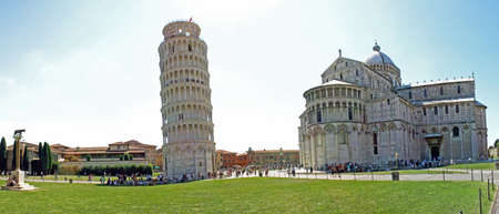Pisa tower hanging in the square of miracles photo
