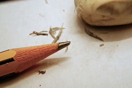 rectify: rubber that erases the writing of a pencil Stock Photo