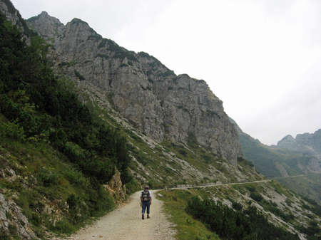 old man who walks in a mountain photo
