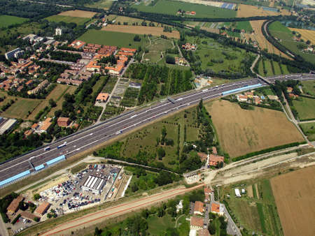 Aerial view of the city and of Freeway Stock Photo - 10869195