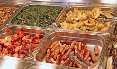 food buffet: tray of a self-service buffet with meat and sliced Stock Photo