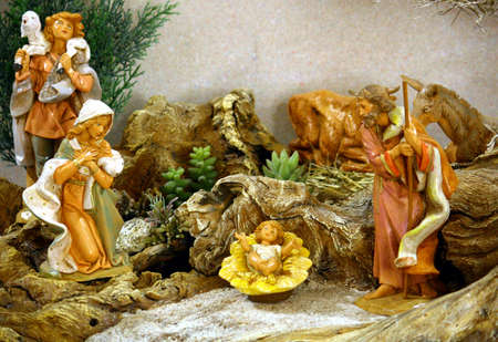 bethlehem crib: nativity with holy family at christmas in a manger at christmas
