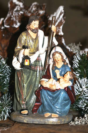 Holy Family during the birth of Jesus in the manger 02 photo