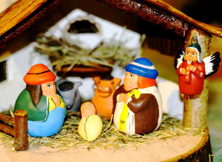 Holy Family during the birth of Jesus in the manger 03 photo