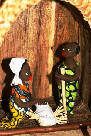 Heilige Familie w�hrend der Geburt Jesu in der Krippe 05 Lizenzfreie Bilder