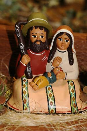 Heilige Familie w�hrend der Geburt Jesu in der Krippe 06 Lizenzfreie Bilder