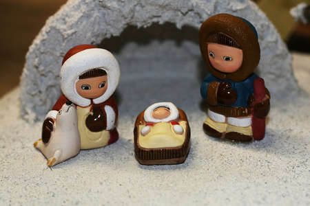 Holy Family during the birth of Jesus in the manger 08 photo