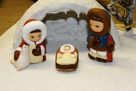 esquimales: Mar�a y Jos� y el nacimiento de Jes�s en la Navidad 09 Foto de archivo