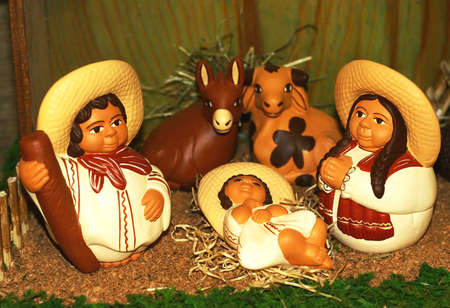 Mary and Joseph and the birth of Jesus at Christmas 018 Stock Photo