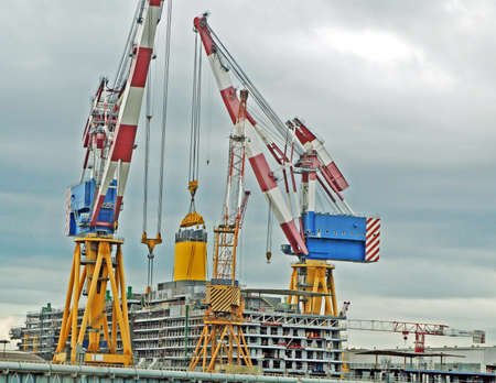 huge cruise ship under construction in a shipyard in northern Italy  photo