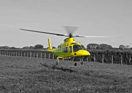 yellow rescue helicopter photo