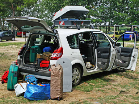 family car full of luggage ready for the holidays Stock Photo - 12365511