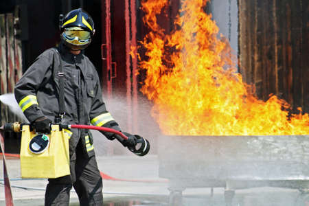 firefighters in action during an exercise Stock Photo - 12315745