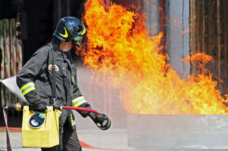 fire hydrant: firefighters in action during an exercise