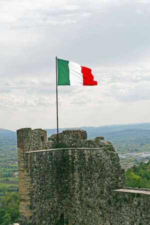 italian flag Marostica walls and castle near Vicenza in Italy