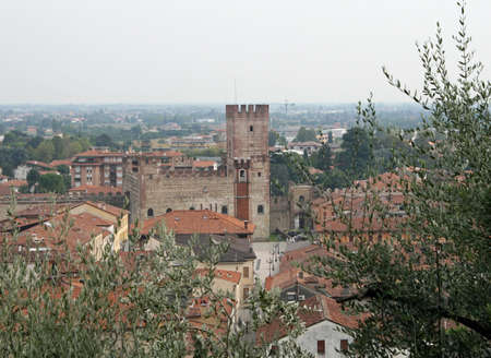 Marostica walls and castle near Vicenza in Italy